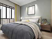 3D rendering, elegant and spacious bedroom design of modern apartment, overcoat cabinet beside the big bed,