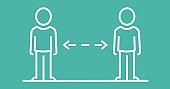 Digital illustration of two people social distancing and standing at safe distance