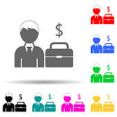 employee with a portfolio and a sign of money multi color style icon. Simple glyph, flat vector of hr and heat hunting icons for ui and ux, website or mobile application