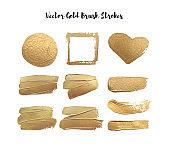 Set of gold brush strokes, heart circle contour gold frame. Texture design element. Vector