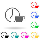 a clock and a cup of coffee multi color style icon. Simple glyph, flat vector of finance icons for ui and ux, website or mobile application