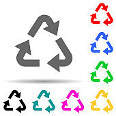 recycling mark green multi color style icon. Simple glyph, flat vector of greenpeace icons for ui and ux, website or mobile application