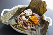 Steamed Rice Wrapped in a Lotus Leaf korean food.