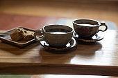 Two cups of tea, Korean traditional tea.