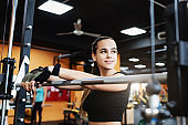 young woman fitness blogger. The concept of sacrifice and effort for a beautiful body