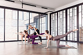 Concept of joint training and healthy lifestyle. Yoga class, community