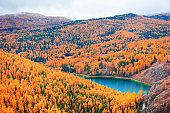 Beautiful lake in autumn mountains.