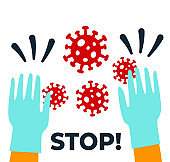 Stop coronavirus 2019-nCoV and Covid-19 disease concept with doctor hands in medical gloves protecting from corona virus, flu infection risk alert. Flat vector illustration.