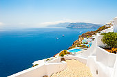 White architecture and blue sea on Santorini island, Greece