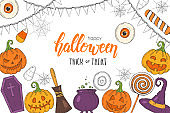 "Halloween poster with hand drawn pumpkin Jack, witch hat, broom, hat, sweets, candy roots, coffin, pot with potion''Trick or Treat"". Sketch, lettering. Halloween banner, flyer, brochure. Advertising"