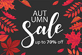 Vector Sale Autumn banner. Lettering. Sketch. Hand drawn colored leaves maple, birch, chestnut, acorn, ash tree, oak. Engraving illustration.Special Offer, up to 70% off. Lettering. Advertising