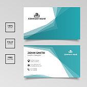 Minimalist gradient blue business card template horizontal simple clean template vector design