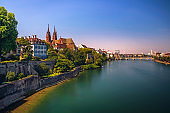 Old Town of Basel, Munster cathedral and the Rhine river in Switzerland