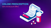 Isometric Online Medical Consultation. Health care Concept. Health Insurance, Online Prescription. Online diagnosis concept banner with characters.