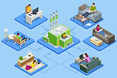 Isometric business man amd woman working at home. Waste Processing Plant. Technological process. Recycling and storage of waste for further disposal.