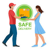 Safe food delivery during coronavirus epidemic. Delivery home and office. Delivery man or courier in a medical mask and gloves delivering to customer at home. Online purchases during a quarantine.