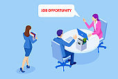 Isometric hiring and recruitment, job candidates and job centre concept. Job interview, recruitment agency. HR job seeking.