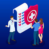 Online medical service. Isometric concept of Health Insurance. People are standing on the signed health insurance policy.