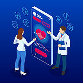Online medical service. Call a doctor using and healthcare app on his smartphone Isometric concept of Health Insurance