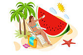 It's Summer time banner. Summer Luxury vacation. Isometric beautiful girl in a swimsuit sits in a beach chair and takes a selfie on the background of the sea