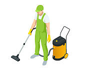 Isometric man with a vacuum cleaners of various types isolated on white background. Washing and Cleaning service concept. Disinfection and cleaning.