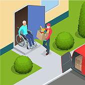 Isometric contactless deliveryman in a medical mask, gloves delivering food or products to the elderly and people with disabilities at home. Online purchases during a quarantine.