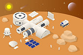 Isometric Mars Colonization, Biological terraforming, Paraterraforming, Adapting humans on Mars. Astronautics, space technology. Communication Center with Residential Compartments, Base Infrastructure
