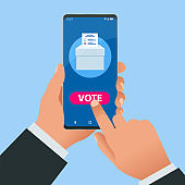 Isometric Online Voting and Election Concept. E-voting, Election Internet System. Smartphone with Vote on Screen.