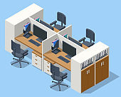 Isometric massive computer table with four desktops and chairs, office interior. Modern cozy loft office interior.