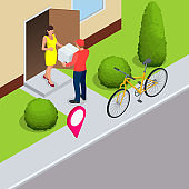 Isometric bicycle courier, Express delivery service. Courier on bicycle with parcel box on the back delivering food In city. Ecological fast delivery. City Food delivery service. Online ordering.