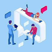 Isometric Concept of Social Media Network, Digital Communication, Chatting. Online Chat Man and Woman App. Chat Messages Notification on a Smartphone.