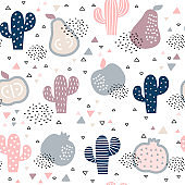 Seamless pattern with cacti and fruits on white background