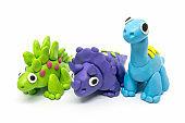 Play dough group Brachiosaurus, Triceratopson, Stegosaurus, on white background