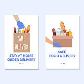 Safe delivery banner set. Vector food donation craft bag with different products in it. Delivery of the product during quarantine.