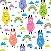 Seamless pattern with cute llamas and rainbows