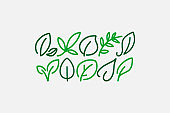 Leaf icons, thin line style