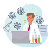 scientist working on lab with microscope corona virus research science biotechnology wearing coat with laptop