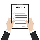 Signed partnership document with