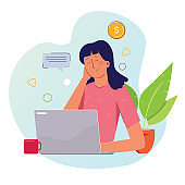 Frustrated stressed paying high bills online on laptop with credit card and money coin.