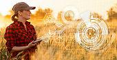 A woman farmer with digital tablet.