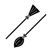 Vector black broom in two variations. Isolated shape of Halloween element. Black contour of mystery cleaner on the white background