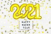 Golden 2021 numbers, Happy New Year Board text, confetti on white background. Christmas party greeting decor