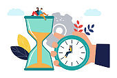 Vector illustration, round clock on white background, time management concept.