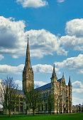 Salisbury Cathedral with the wonky spire: Salisbury, Wiltshire, UK