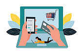 Vector illustration, flat style, online shopping, business concept, online purchase.
