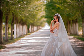 Amazing bride in beautiful white wedding dress