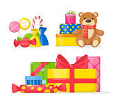 Celebration Birthday party decorations set cartoon isolated vector