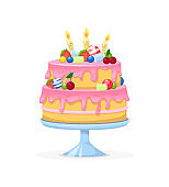 Birthday square cake with candle cartoon vector illustration