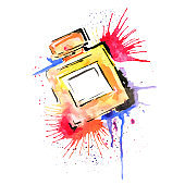 Watercolor fashion illustration. Fashion accessory. Bottle of perfume. Bright strokes and splashes of paint. Multi-colored, style. Fashion, advertising.
