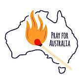 Forest fires in Australia. Pray for Sydney and Pray for Australia. Stock Vector illustration